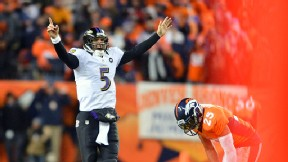 Joe Flacco of the Baltimore Ravens against the Denver Broncos