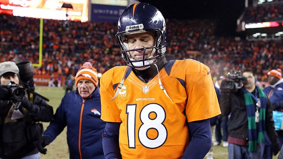 Peyton Manning of the Denver Broncos against the Baltimore Ravens