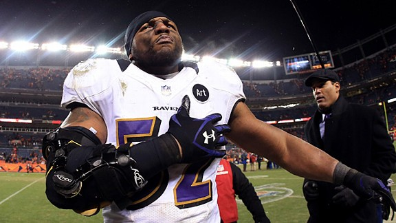 Ray Lewis tore his triceps in October, but returned to the Ravens for the playoffs.