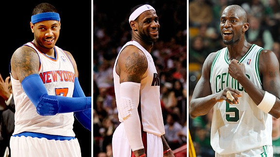 Carmelo Anthony, LeBron James, Kevin Garnett