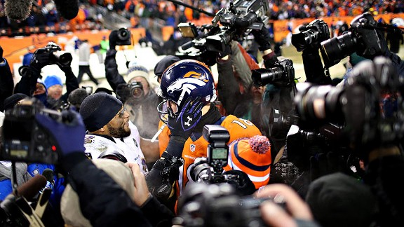 Ray Lewis of the Baltimore Ravens and Peyton Manning of the Denver Broncos