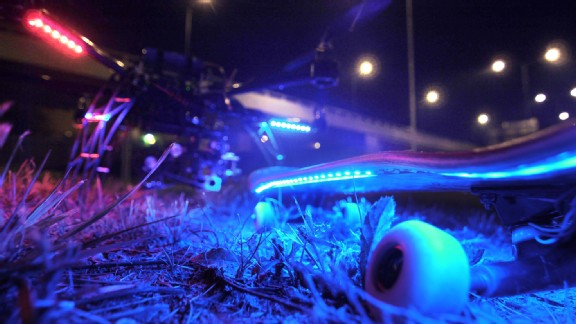 The 'Firefly' video was produced using an RC helicopter LED lights attached to a skateboard.