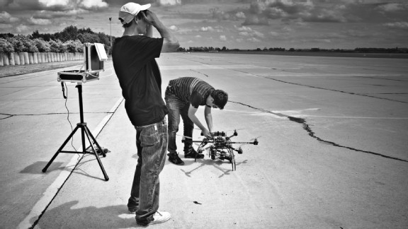 Director Jan Minol and jamcopter pilot Jan Dojcan on set during a Lamborghini video shoot.