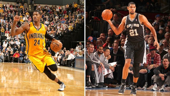 Paul George and Tim Duncan