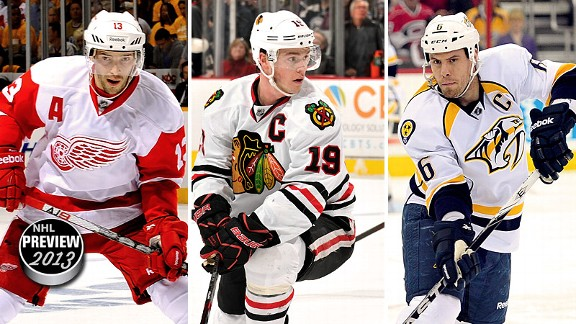 Pavel Datsyuk, Jonathan Toews and Shea Weber