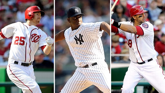 Adam LaRoche, Rafael Soriano and Michael Morse