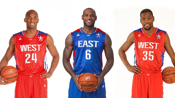 Kobe Bryant, LeBron James and Kevin Durant