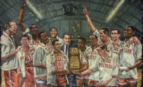 Don Haskins and Texas Western NCAA Tournament painting by Opie Otterstad