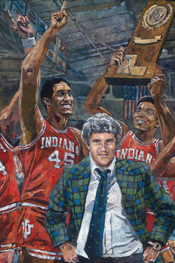 Bob Knight and Indiana Hoosiers NCAA Tournament painting by Opie Otterstad