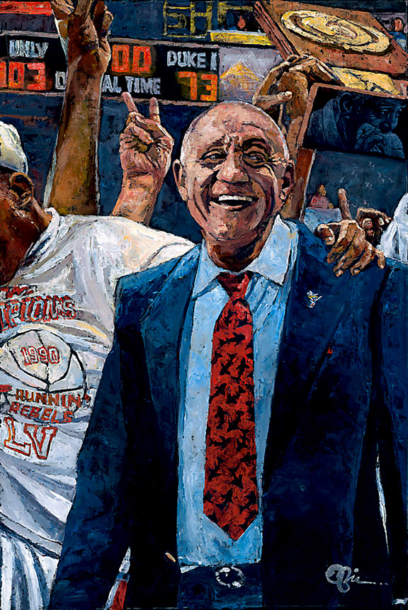 Jerry Tarkanian and UNLV Rebels NCAA Tournament painting by Opie Otterstad