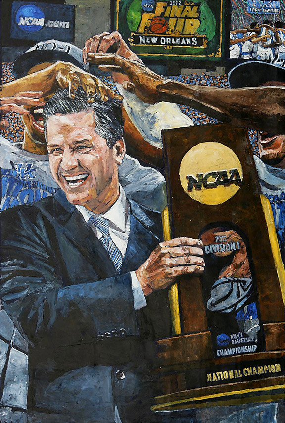 John Calipari and Kentucky Wildcats NCAA Tournament painting by Opie Otterstad
