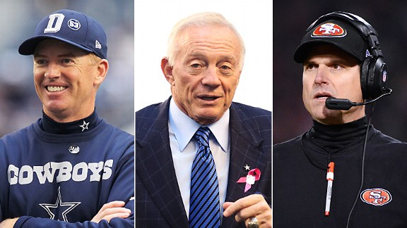 Jason Garrett, Jerry jones & Jim Harbaugh