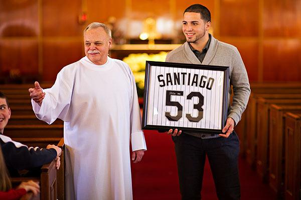 Monsignor Robert Weiss, left, and Hector Santiago