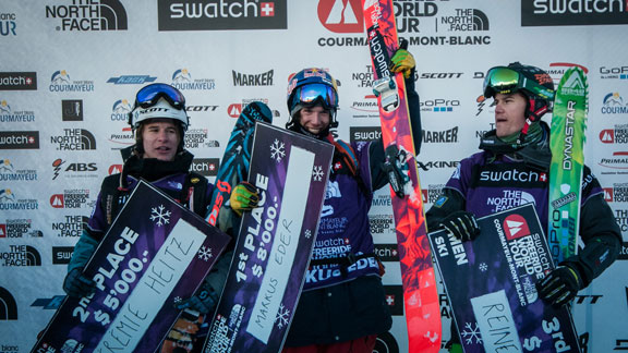 The men's ski podium at the FWT in Courmayeur.