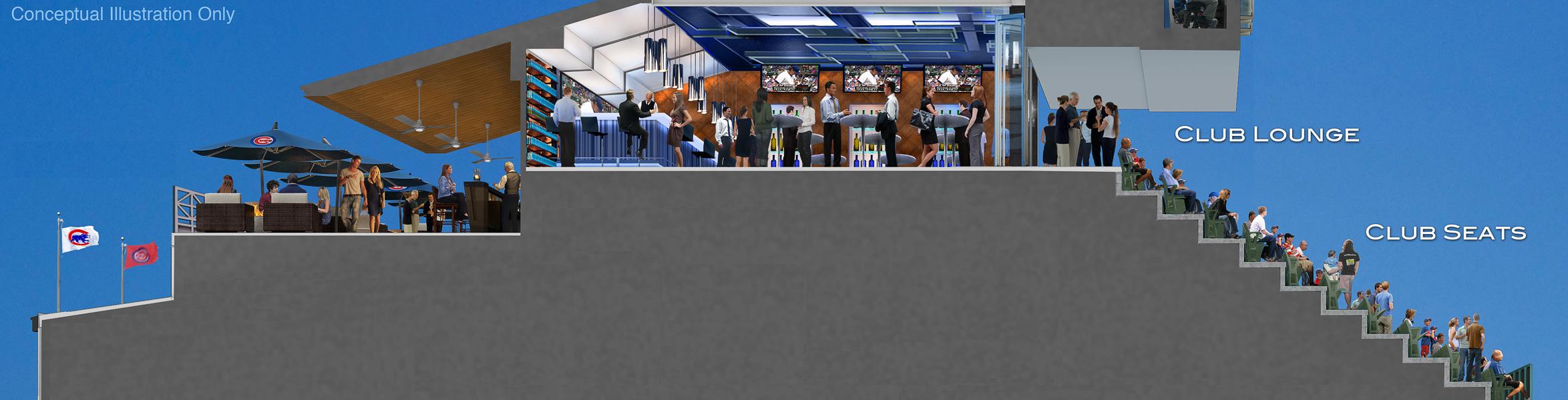 Wrigley Renderings - Club Patio Lounge Seats