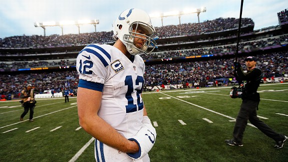 Andrew Luck of the Indianapolis Colts against the Baltimore Ravens