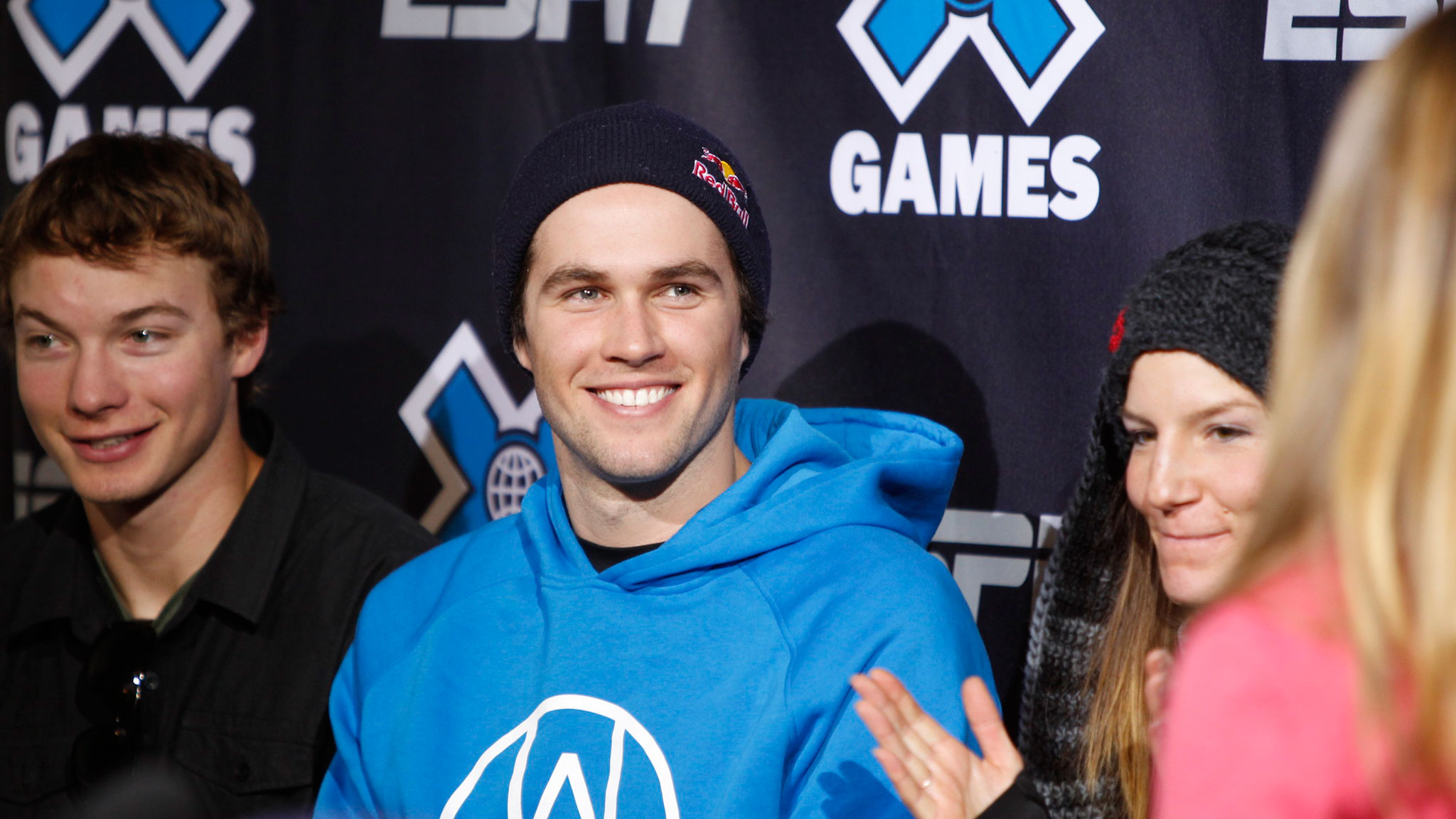 David Wise, Bobby Brown, and Kaya Turski during the opening press conference at X Games Aspen.