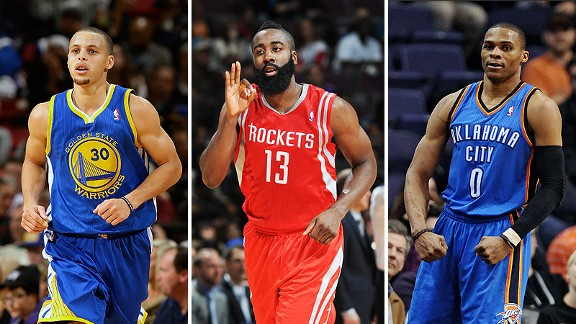 Stephen Curry, James Harden and Russell Westbrook