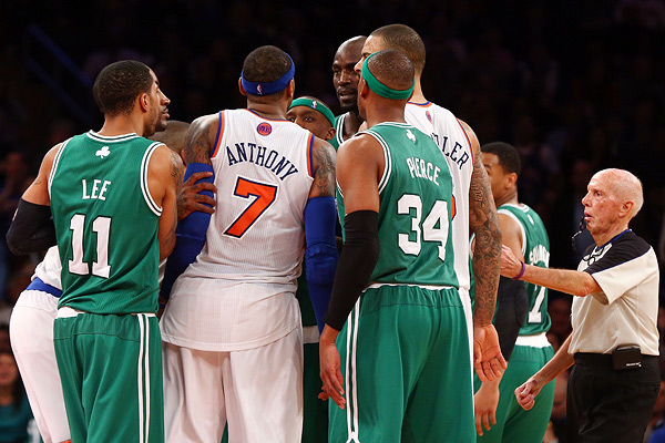 Carmelo Anthony and Kevin Garnett