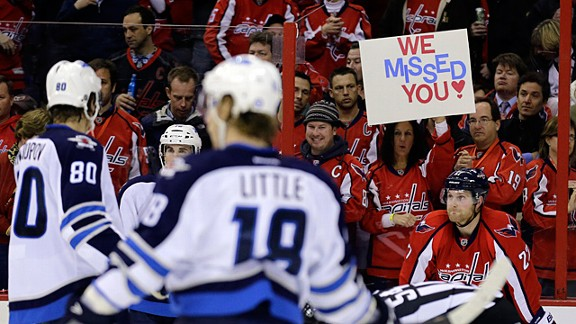 Washington Capitals fans against the Winnipeg Jets