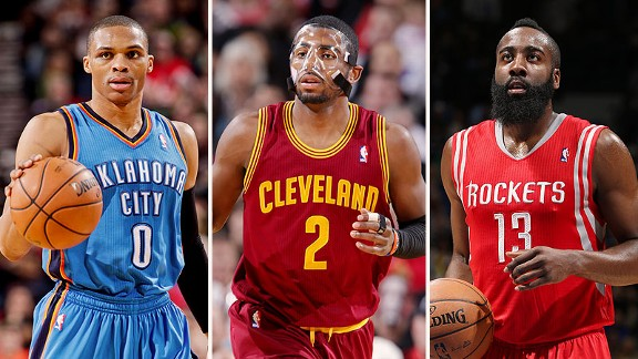 Russell Westbrook, Kyrie Irving, and James Harden