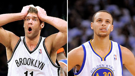 Brook Lopez and Stephen Curry