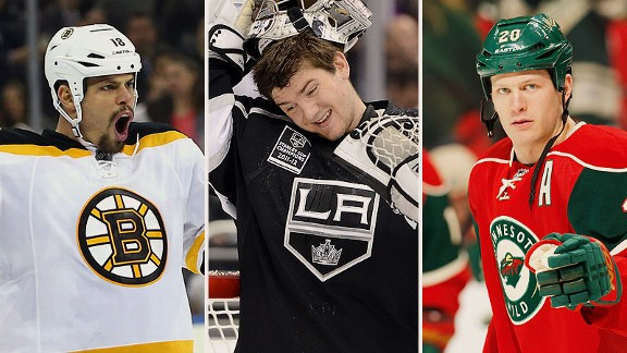 Nathan Horton, Jonathan Quick, and Ryan Suter