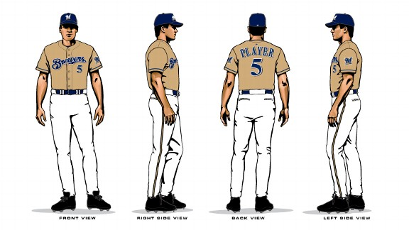 Brewers gold alternate uniforms