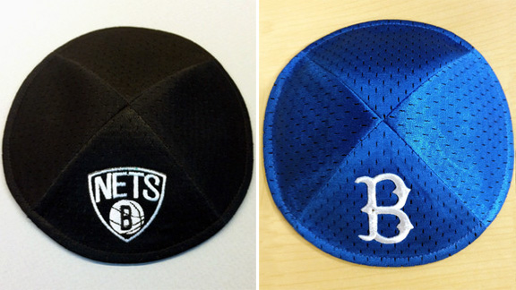 Brooklyn Nets and Brooklyn Dodgers yarmulkes