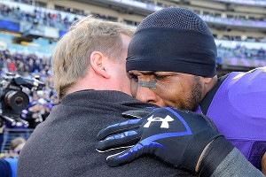 NFL commissioner Roger Goodell hugs Ray Lewis before the Ravens-Colts game on Jan. 6.