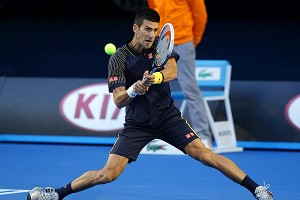 Novak Djokovic had a hard time making any headway against Andy Murray for two sets but then put his game in full throttle.