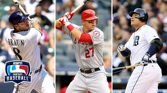 Miguel Cabrera, Ryan Braun and Mike Trout