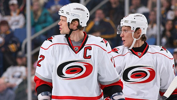 Eric Staal #12 and Alexander Semin #28