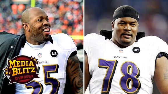 Terrell Suggs and Bryant McKinnie