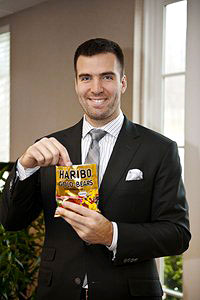 Joe Flacco if tge Baltimore Ravens with Haribo gummy bears