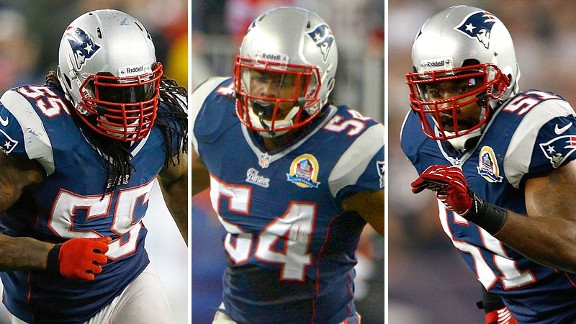 Brandon Spikes, Dont'a Hightower and Jerod Mayo