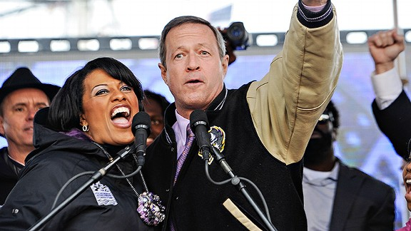 Stephanie Rawlings-Blake, mayor of Baltimore, at a Ravens rally
