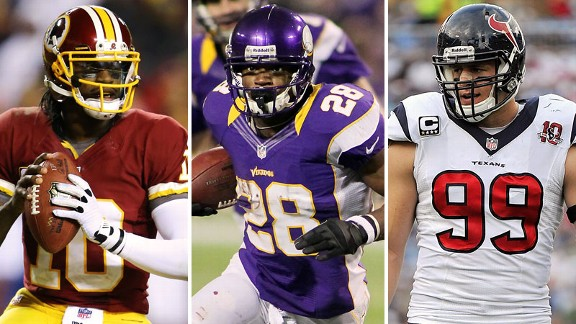 Adrian Peterson, Robert Griffin III, J.J. Watt