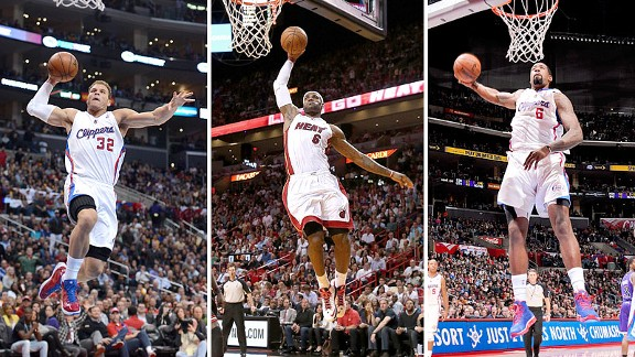 Blake Griffin, LeBron James and DeAndre Jordan