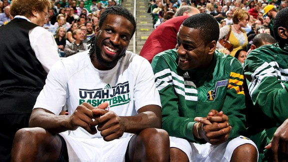 Alec Burks, DeMarre Carroll of the Utah Jazz