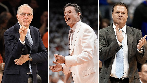 Jim Boeheim, Rick Pitino, and Bill Self