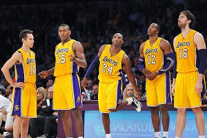 Kobe Bryant, Pau Gasol, Metta World Peace, Dwight Howard and Steve Nash of the Los Angeles Lakers