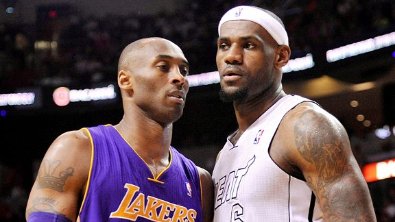 LeBron James and Kobe Bryan