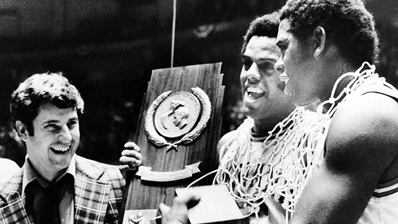 Bob Knight's 1976 national championship team at Indiana is the last to go undefeated.