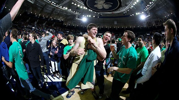 Jack Cooley of the Notre Dame Fighting Irish after beating the Louisville Cardinals