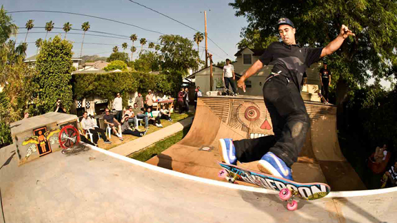 Eric Koston frontside Hurricane grinds during a Nike get-together.
