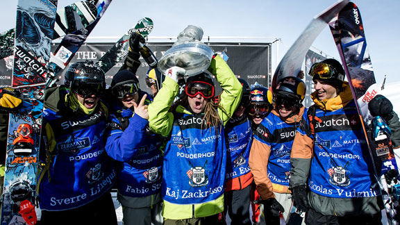 Team Europe celebrates their win at the 2013 Swatch Skiers Cup.