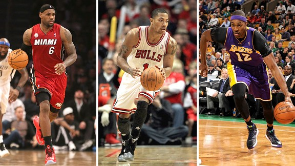 LeBron James, Derrick Rose and Dwight Howard
