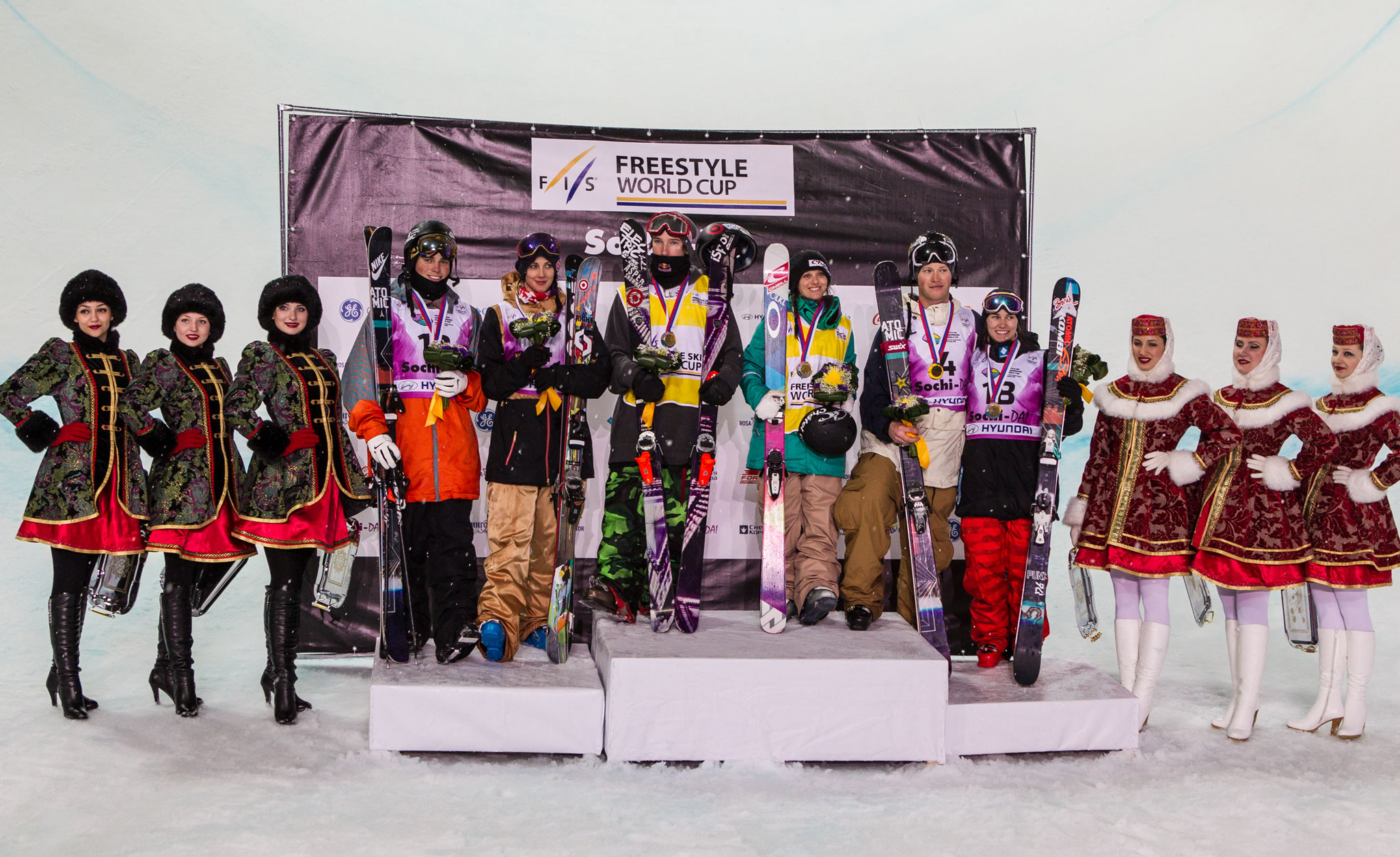 The men's and women's podium at the FIS World Cup Halfpipe contest in Sochi, Russia.