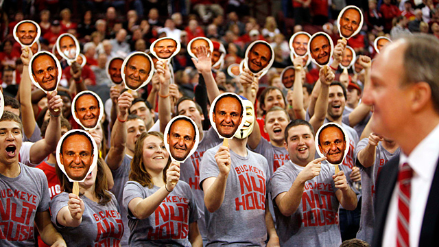 Ohio State fans display their mask of Ohio State coach Thad Matta